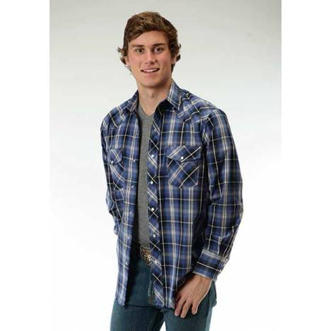 Roper Long Sleeve Woven Plaid With Lurex Western Shirt - Mens - Black Royal Blue