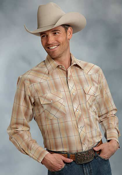Roper Long Sleeve Woven Plaid Western Shirt - Mens With Lurex - Brown - Brown Gold