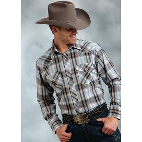 Roper Long Sleeve Woven Plaid Western Shirt - Mens With Lurex - Navy - Navy Blue Gold