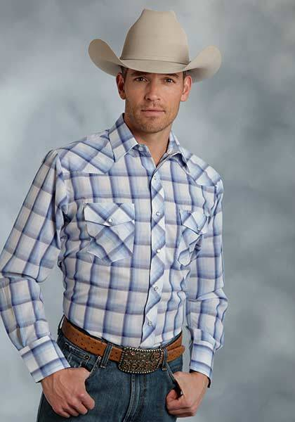 Roper Long Sleeve Woven Snap Plaid Western Shirt - Mens - Blue White