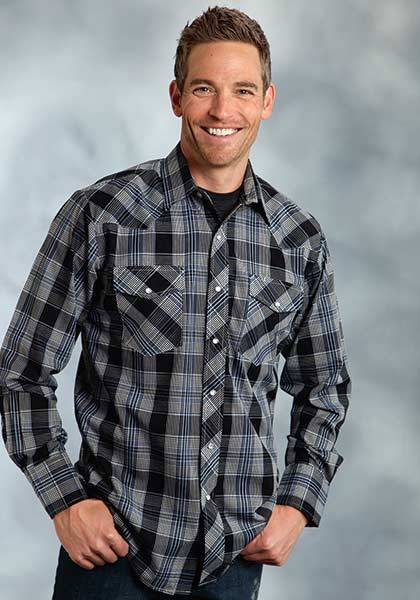 Roper Plaid Button Down Western Shirt - Mens - Dark Navy