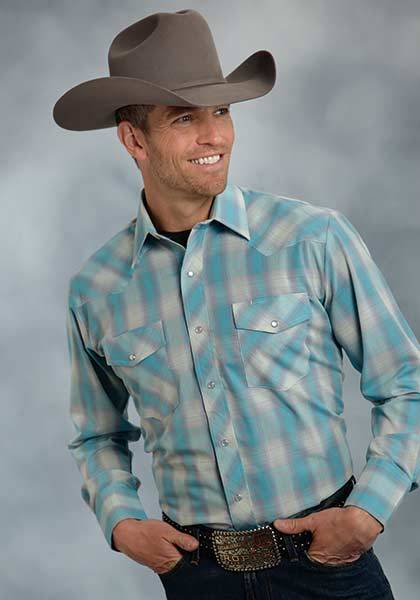 Roper Plaid Long Sleeve Western Shirt - Mens - Turquoise Grey