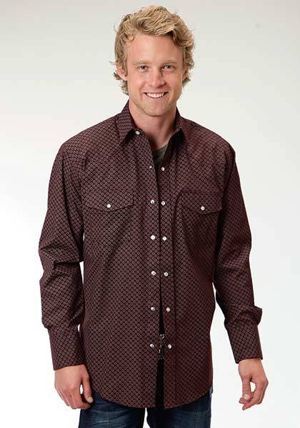 Roper Raindrop Print Long Sleeve Western Shirt - Mens - Brown