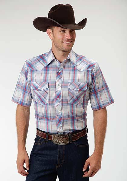Roper Short Sleeve Dobby Plaid Western Shirt - Mens - Blue White
