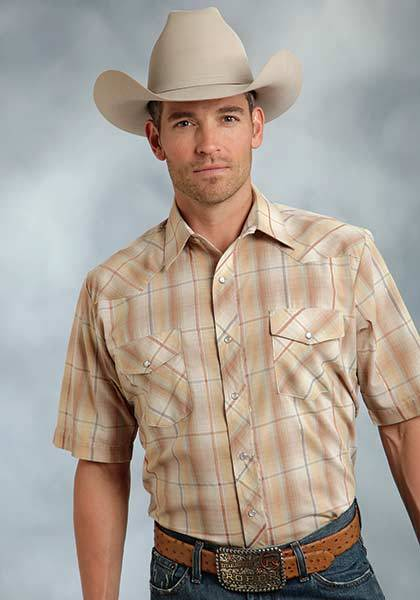 Roper Short Sleeve Plaid Lurex Western Shirt - Mens - Brown Gold