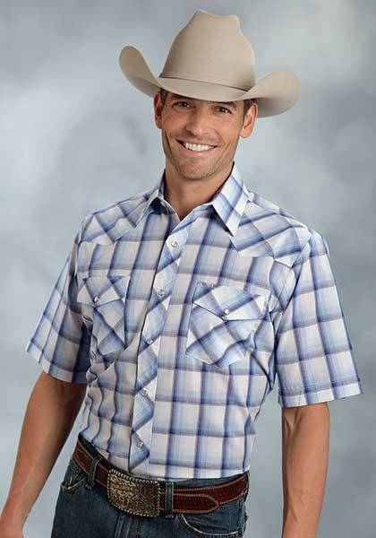 Roper Short Sleeve Snap Plaid Western Shirt - Mens - Blue White