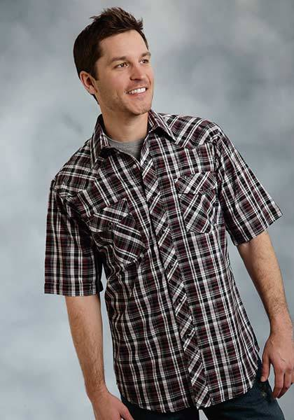 Roper Short Sleeve Snap Plaid Lurex Western Shirt - Mens - Red Black Silver