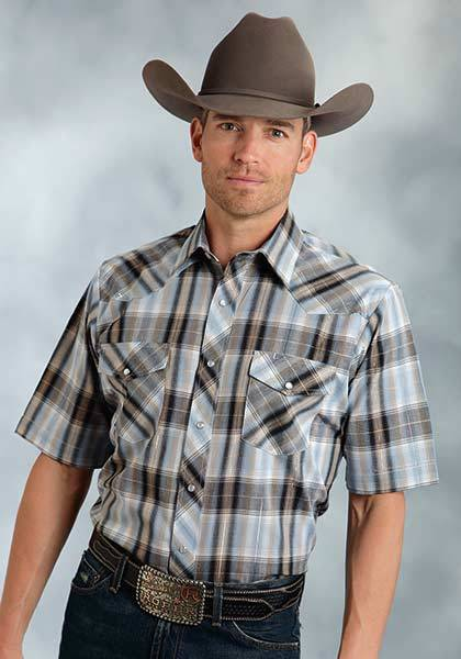 Roper Short Sleeve Snap Plaid Lurex Western Shirt - Mens - Navy Blue Gold