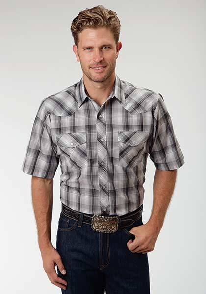Roper Short Sleeve Snap Tonal Plaid Western Shirt - Mens - Black Grey