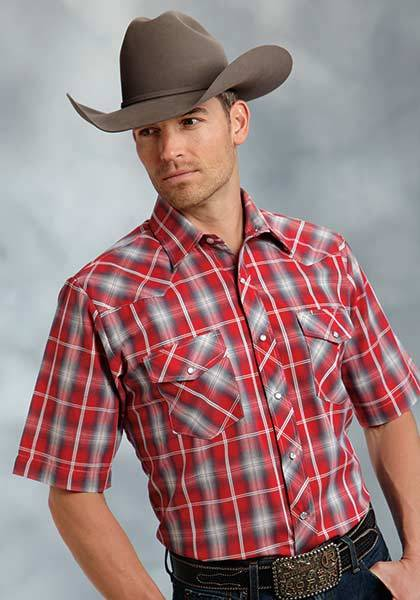 Roper Tall Short Sleeve Snap Two Pocket Plaid Western Shirt - Mens - Red Grey