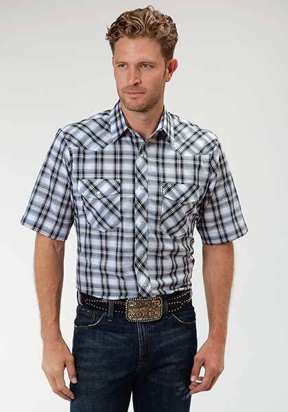 Roper Short Sleeve Snap Western Plaid Shirt - Mens - White Navy Blue