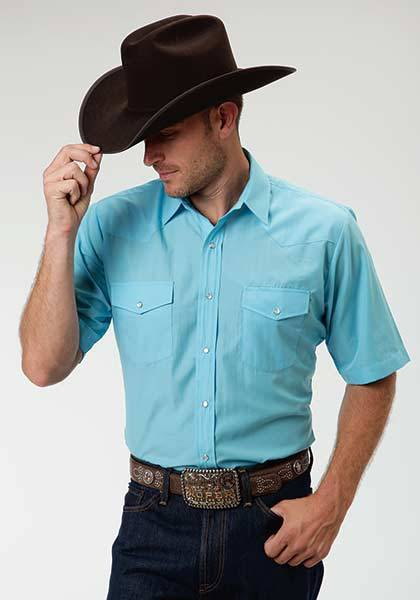 Roper Short Sleeve Solid Broadcloth Patch Pocket Western Shirt - Mens - Turquoise
