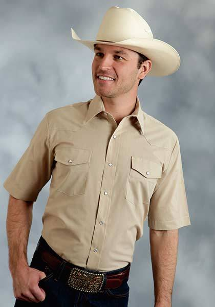 Roper Short Sleeve Solid Broadcloth Western Shirt - Mens - Khaki