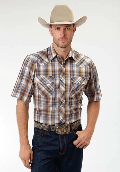 Roper Short Sleeve Tonal Plaid Snap Western Shirt - Mens - Brown