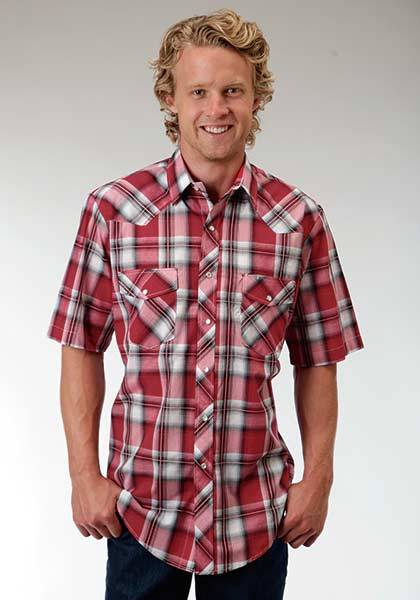 Roper Short Sleeve Western Plaid Snap Shirt - Mens - Red Black