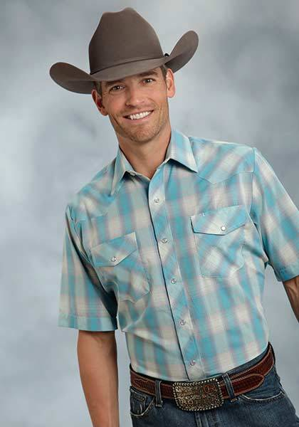 Roper Short Sleeve Woven Plaid Western Shirt - Mens - Turquoise Grey