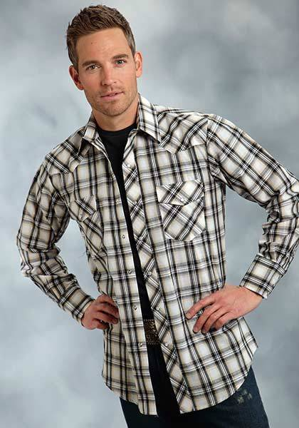 Roper Snap Front Plaid Western Shirt - Mens - Black Khaki