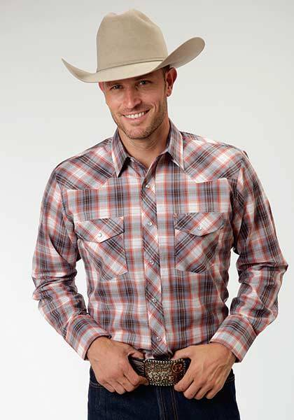 Roper Snap Long Sleeve Western Plaid Shirt - Mens - Terra Red