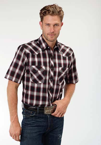 Roper Snap Plaid Short Sleeve Western Shirt - Mens - Black Watch
