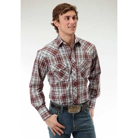 Roper Snap Rustic Plaid Long Sleeve Western Shirt - Mens - Grey