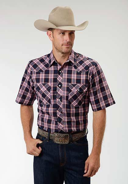 Roper Snap Short Sleeve Western Plaid Shirt - Mens - Navy Blue