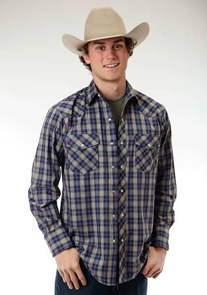 Roper Snap Woven Plaid Long Sleeve Western Shirt - Mens - Grey Blue