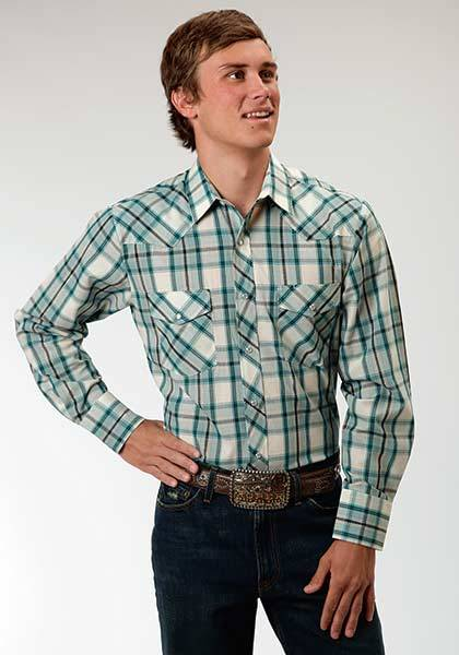 Roper Snap Woven Plaid Western Long Sleeve Shirt - Mens - Turquoise