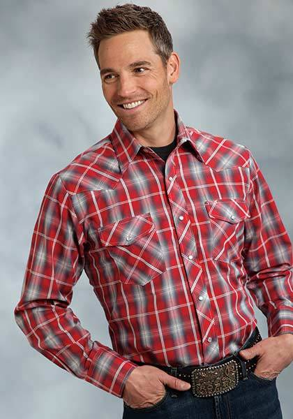 Roper Two Pocket Long Sleeve Plaid Western Shirt - Mens - Red Grey