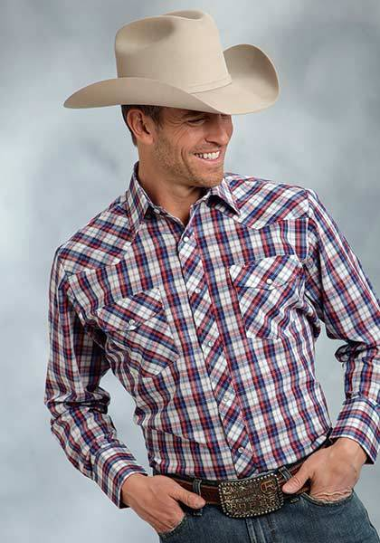 Roper Pocket Long Sleeve Western Plaid Shirt - Mens - Red Blue