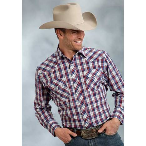 Roper Tall Two Pocket Long Sleeve Western Plaid Shirt - Mens - Red Blue