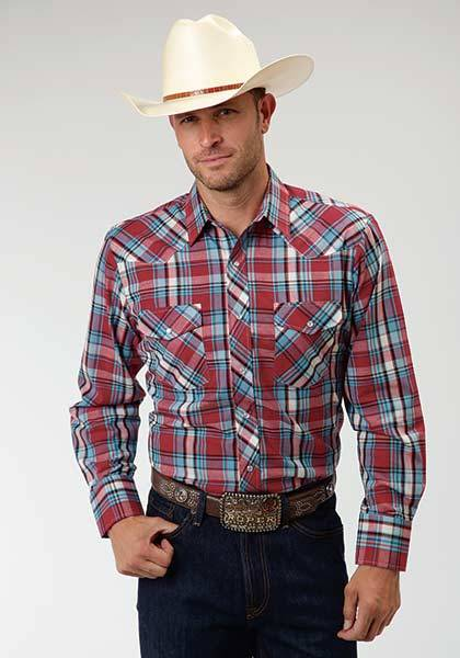 Roper Western Long Sleeve Plaid Shirt - Mens - Red Blue