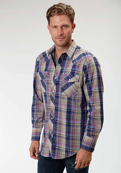 Roper Western Long Sleeve Woven Plaid Shirt - Mens - Blue Multi