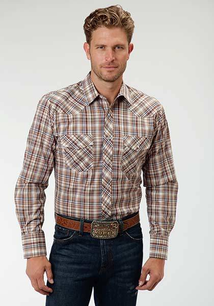 Roper Western Plaid Snap Long Sleeve Shirt - Mens - Earth Brown