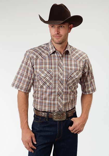 Roper Western Short Sleeve Snap Plaid Shirt - Mens - Earth Brown