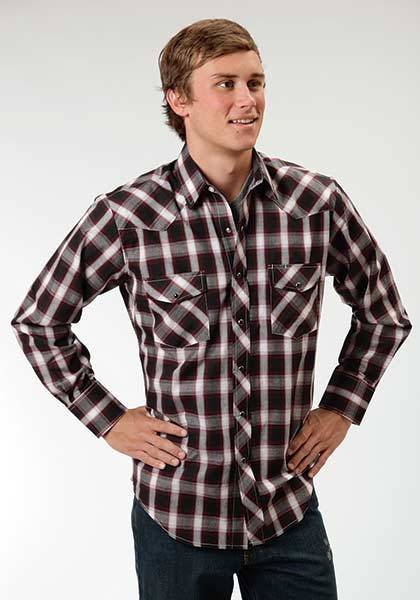Roper Western Snap Long Sleeve Plaid Shirt - Mens - Black Watch
