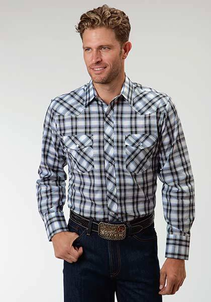 Roper Tall Western Long Sleeve Snap Plaid Shirt - Mens - White Navy Blue