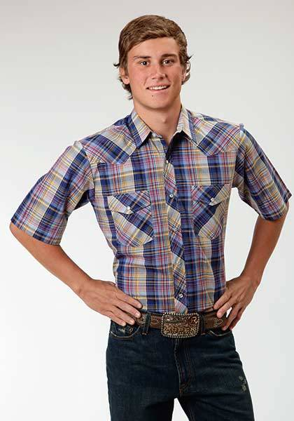 Roper Western Short Sleeve Plaid Shirt - Mens - Blue Multi