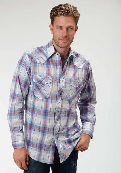 Roper Western Snap Long Sleeve Plaid Shirt - Mens - Blue White