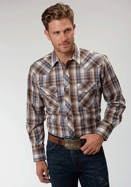 Roper Western Tonal Plaid Long Sleeve Shirt - Mens - Brown