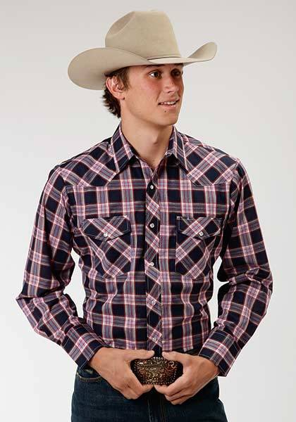 Roper Western Woven Plaid Long Sleeve Shirt - Mens - Navy Blue