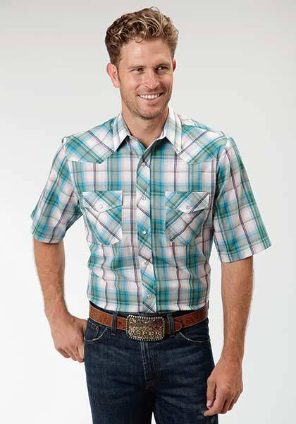 Roper Woven Plaid Short Sleeve Western Shirt - Mens - White Turquoise