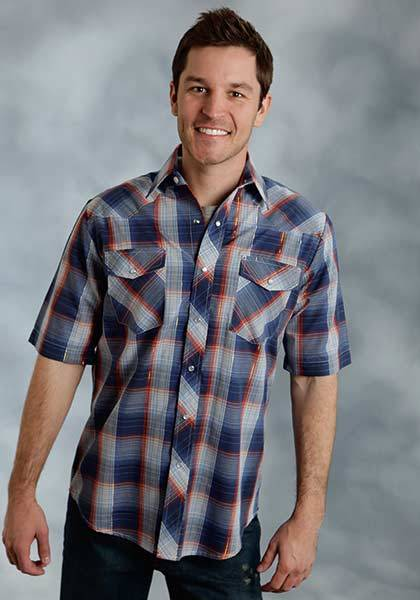 Roper Woven Plaid Snap Short Sleeve Western Shirt - Mens With Lurex - Sky Navy Gold