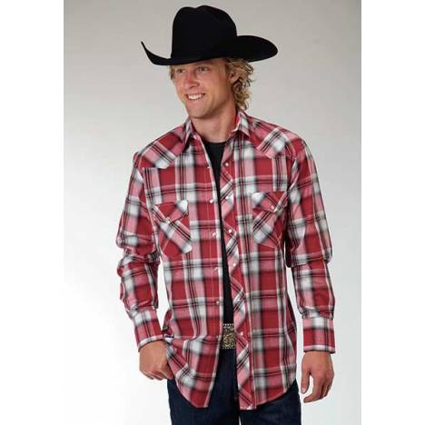 Roper Woven Plaid Western Long Sleeve Shirt - Mens - Red Black
