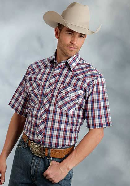 Roper Woven Short Sleeve Plaid Western Shirt - Mens - Red Blue
