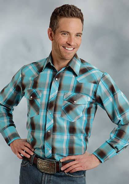 Roper Yarn Dyed Long Sleeve Western Plaid Shirt - Mens - Turquoise Chocolate