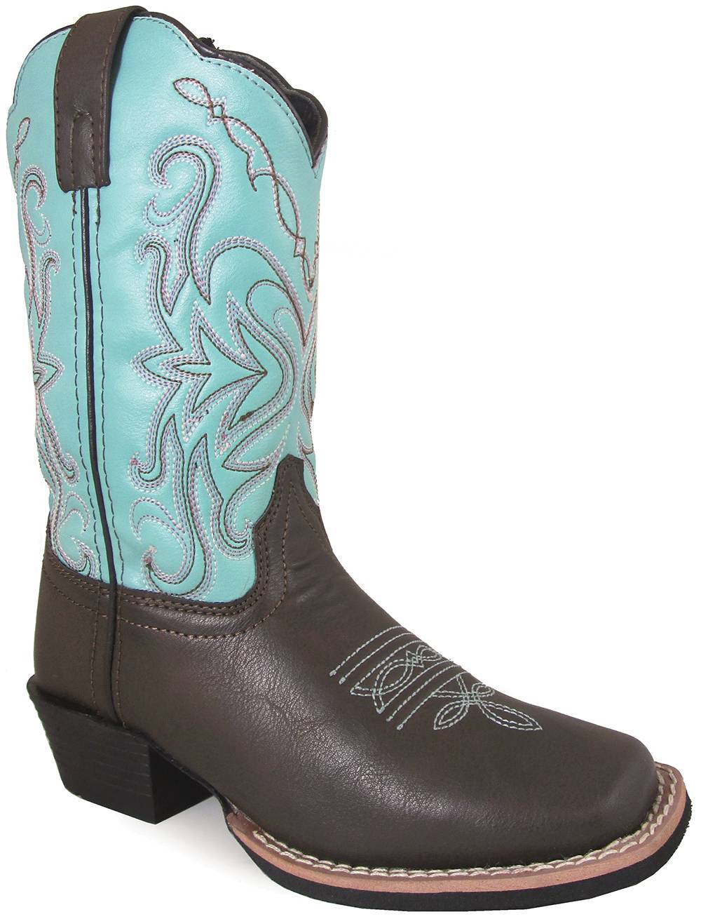 Smoky Mountain Del Ray Square Toe Boots - Youth - Brown/Turquoise