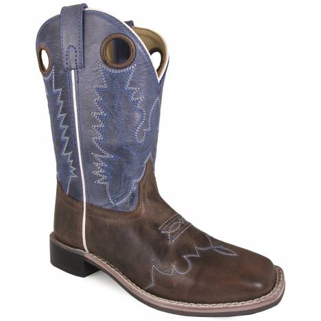 Smoky Mountain Delta Leather Square Toe Boots - Childrens - Brown/Blue Crackle
