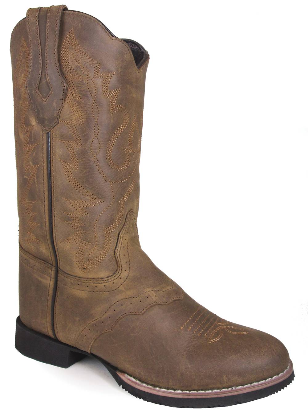 Smoky Mountain Showdown 10'' U Toe Leather Boots - Ladies - Brown Distress