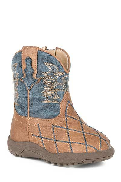 Roper Cowbabies Cross Cut Faux Leather Western Boots - Infant Boys