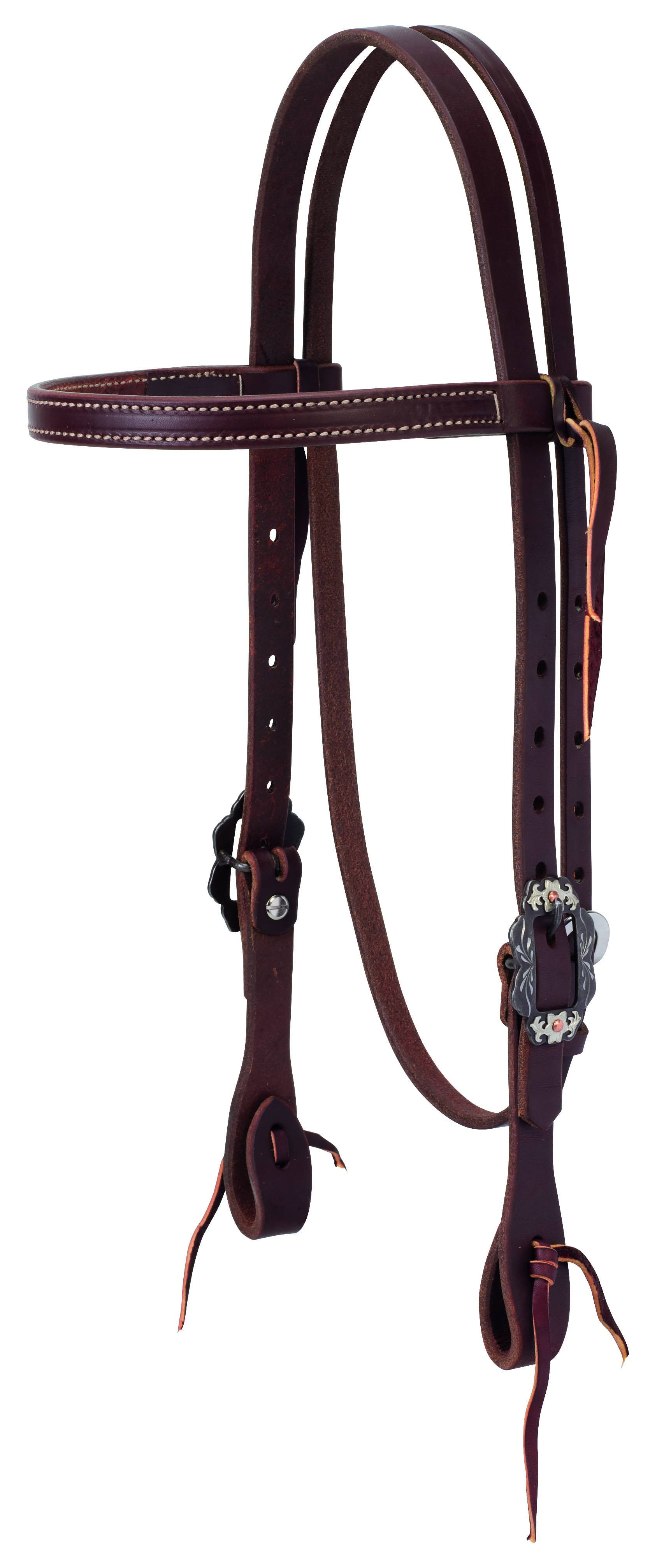 Weaver Working Tack Straight Browband Headstall - Buffed Brown Hardware